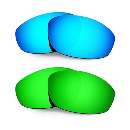 HKUCO Verstärken Ersatz-Brillengläser für Oakley Whisker Blau/Grün Sonnenbrille TAC Polarisiert
