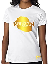 T-shirt Femme Réunion 974 Renyon Blanc et Or Métallisé