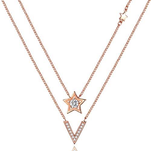 Veecans collana doppia donna oro rosa con zircon swarovski, delicata collana con doppia catenina e pendente a stella, regalo per la festa della mamma, il san valentino e il natale, prolunga 45+5cm