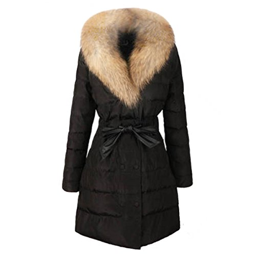 SODIAL (R) Donna Piumino giubbino lunga cotone giacca doppio petto imbottita cintura di pelliccia taglia XL nero