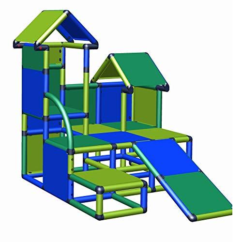 move and stic Indoor & Outdoor Klettergrüst Luise für Kleinkinder ab 12 Monate als Möbel und Motorikschule im Kinderzimmer einsetzbar (grün-apfelgrün-blau)