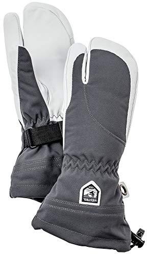 Hestra Damen Ski-Handschuhe, extra warm, Heli-Leder, Winter, kalte Wetter, 3-Finger, Fäustlinge, Damen, Grau/Offwhite, 8
