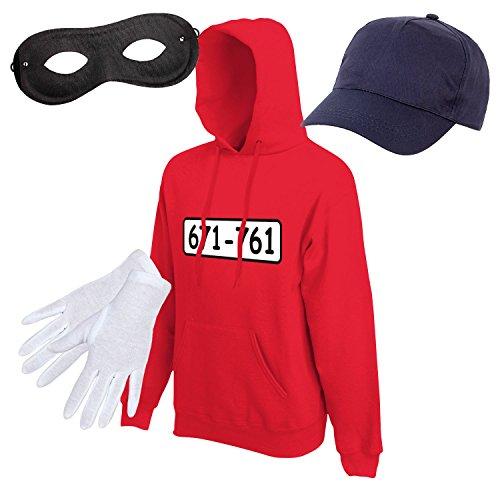 mit Kapuze Kostüm mit WUNSCHNUMMER-STANDARDNUMMER Herren und Kinder Verkleidung SET05 Hoodie/Cap/Maske/Handschuhe XL (Herren Sport-kostüme)