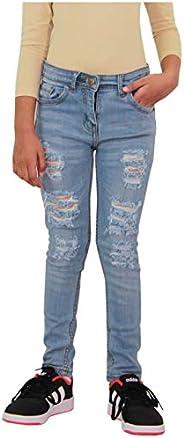 Mallimoda Girls Distressed Ripped Embroidery Slim Denim Pants