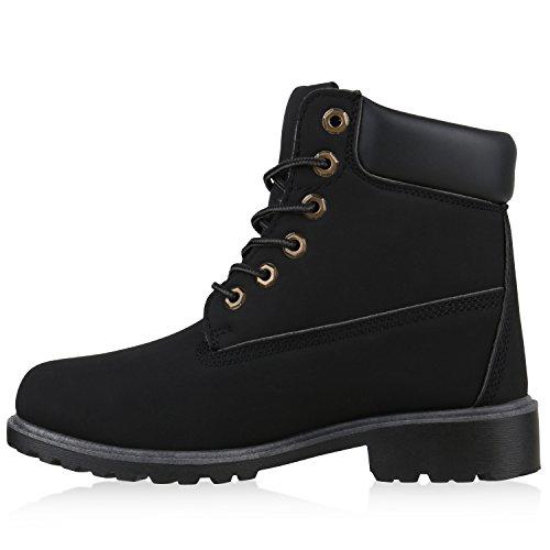 UNISEX Damen Herren Stiefeletten Worker Boots Outdoorschuhe Schnürstiefel All Schwarz
