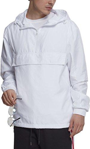 Urban Classics Herren Windbreaker Basic Pull-Over Jacket, leichte Streetwear Schlupfjacke, Überziehjacke für Frühjahr und Herbst - Farbe white, Größe M