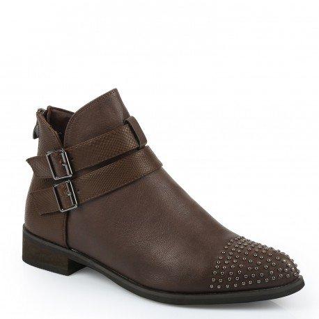 Ideal Shoes - Bottines avec partie effet reptile et clous Dania Marron