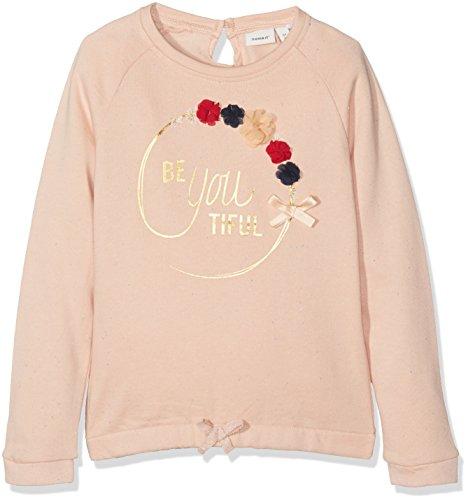 Ls Pullover Top (NAME IT Mädchen Sweatshirt Nitfefla LS Swe Top Bru Mini, Rosa (Evening Sand), 122 (Herstellergröße: 122/128))