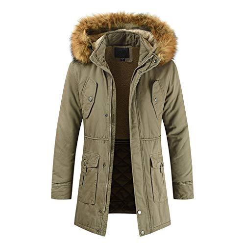 Wintermantel Herren Lang für Herren-Jacken, Herren Jacke Kapuzen Steppjacke Winterjacke Winter Parka Verdicken Warm Casual Übergangsjacke Outwear Trenchcoat Mantel