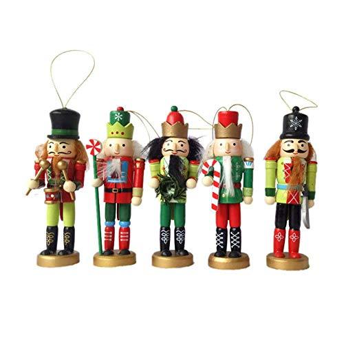 Holz Nussknacker Ornaments, 5er Pack Zinnsoldat Kennedy Weihnachten Dekoration Figuren Handpuppe Toys Weihnachtsdekoration Mini Puppet, 12CM (Weihnachten Nussknacker Dekoration)