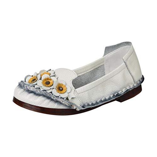 Mitlfuny Damen Sommer Sandalen Bohemian Flach Sandaletten Sommer Strand Schuhe,Neue Klassische Einzelschuhe Freizeit Blumen flachbesohlte bonbonfarbene Damenschuhe -