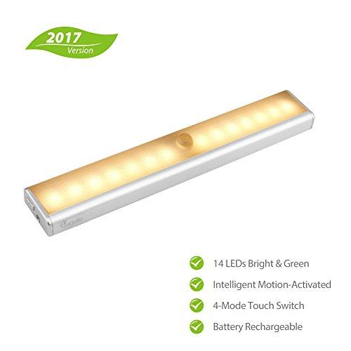 megulla® 14-led wiederaufladbarer Lithium-Ionen-Akku betrieben Indoor Wireless LED Motion Sensor Licht für unter Schrank, Schrank, Speisekammer, Bad, Treppe, Flur, Schrank, attic-warm weiß, 1Stück (Motion-sensing-licht-schalter)