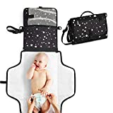 Toolik Black with White Stars Waterproof Nappy Clutch, Portable Changing Mat
