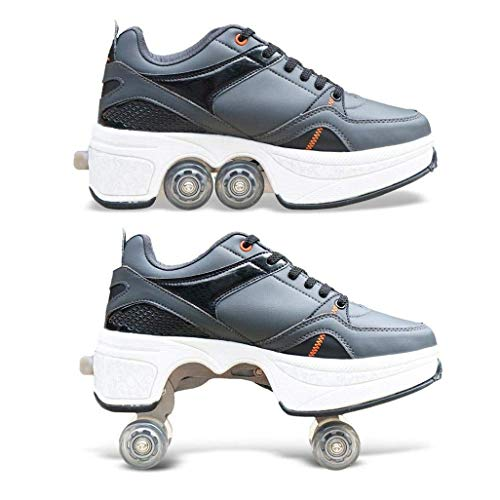 Quad Skates 2-in-1 Multifunktions 4-Rad Verstellbare Rollschuhe,Verstecktes Rad für Laufsportschuhe zum Spielen,Einstellbare Rollschuhe für Skaten,Laufen,Unisexe,EU40