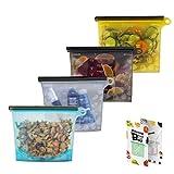 Sacchetti riutilizzabili in silicone per alimenti, per alimenti, panini, verdure, frutta, carne, latte, snack, sacchetti in silicone ideali per congelare il calore al vapore e per forno a microonde