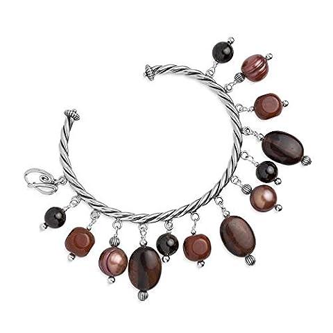 Carolyn Pollack Sterling Silver Red Jasper Tiger Eye Freshwater Cultured Pearl Cuff Bracelet