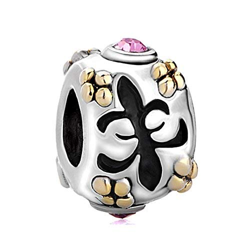 korliya Fleur de Lis Charm Bead für Armband (Charme Pandora Fleur Lis De)