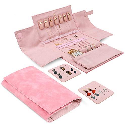 Like-very Reise-Schmuck-Organizer Roll-Tray Halter, Schmuckkoffer Tasche Aufbewahrungsbox für Halskette, Ohrringe, Ringe, Armbänder