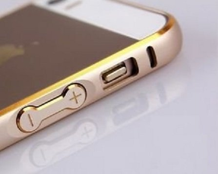 Kapa Dual Tone Circular Arc Shaped Metal Bumper Case Cover For Iphone 4 4S - Gold