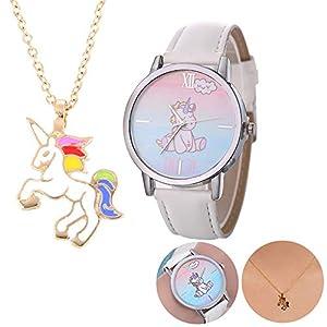 1Set Einhorn Halskette Uhren Geschenk-Set beiläufig Cute Unicorn-Leder-Band-Armbanduhr-und Einhorn-Halskette Partei-Bevorzugungen Weihnachtsgeschenk für Kinder