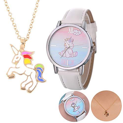 te Uhren Geschenk-Set beiläufig Cute Unicorn-Leder-Band-Armbanduhr-und Einhorn-Halskette Partei-Bevorzugungen Weihnachtsgeschenk für Kinder ()