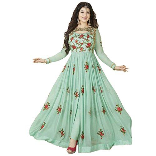 Generic Women\'S Georgette Anarkali Dress Material (Err10215_Green_Free Size)