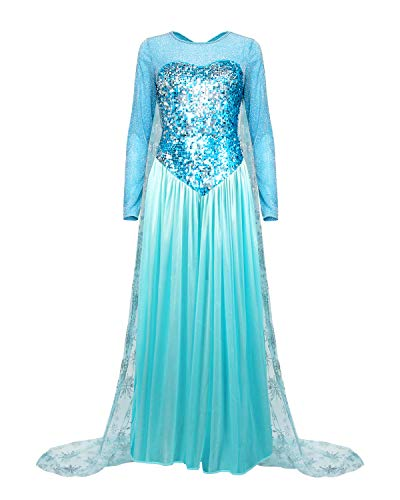 (Nofonda Damen Elegant Prinzessin Kleid ELSA Blau Frauen Abendkleid Königin Kostüm für Halloween Party Cosplay (XX-Large))
