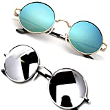 Y&S Unisex UV protected Square Men's Womens Boys and Girls Sunglasses Combo Round Black And Silver Reflector
