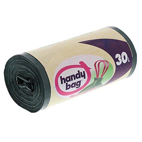 Handy Bag 2 Rouleaux de 15 Sacs Poubelle 30 L, Poignées Coulissantes, Recyclés, Résistant, Anti-Fuites, 53 x 63 cm, Vert Foncé, Opaque