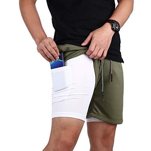 Volwco Hombres Pantalónes Cortos De Running 2-en-1,Pantalones