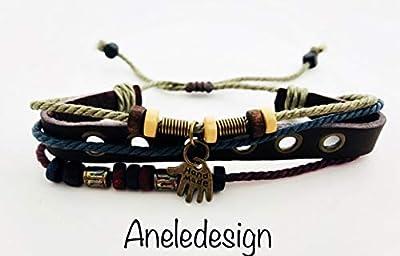 Bracelet homme cuir tendance vert perles marron bleu