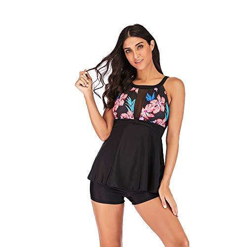 Laorchid Damen Badeanzug zweitailig Neckholder Hoch-tailer schwimmrock bügellos mit Boy Legs Shorts #1 Blumen XXL (Boy Short Bademode Für Frauen)