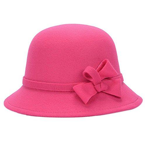 Leisial™ Elegant Warm Halten Damen Fischerhüte Herbst und Winter Dame Hut Bogendekoration Fischerhüte Rose rot 58CM