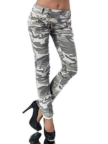 L368 Damen Jeans Hose Boyfriend Damenjeans Harem Baggy Chino Haremshose, Größen:38 (M), Farben:Camouflage-Grau