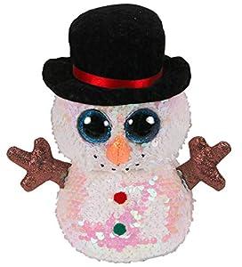 Ty - Peluche de Lentejuelas, diseño de muñeco de Nieve, 15 cm, TY36339, Multicolor