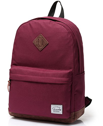 School Backpack for Teenagers, Unisex Classic Lightweight Water Resistant Campus Backpack for Girls Travel Backpack Fits 14-Inch Laptop Burgundy by Vaschy