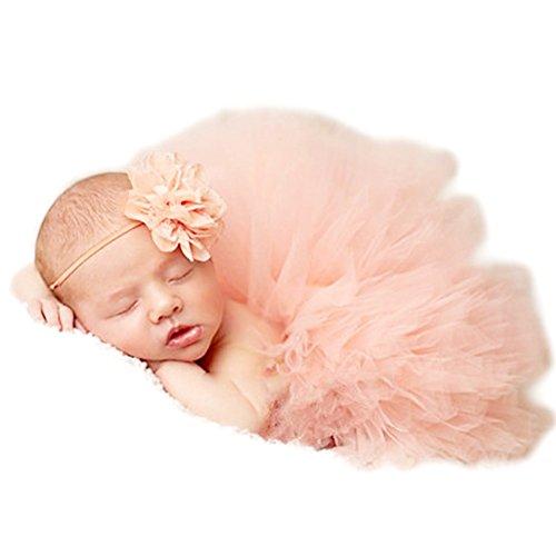 3 Monate Baby Kostüme Girl (Fotografie Prop für Baby Girl 0-6 Monate Tutu Rock Kopfschmuck Neugeborene)