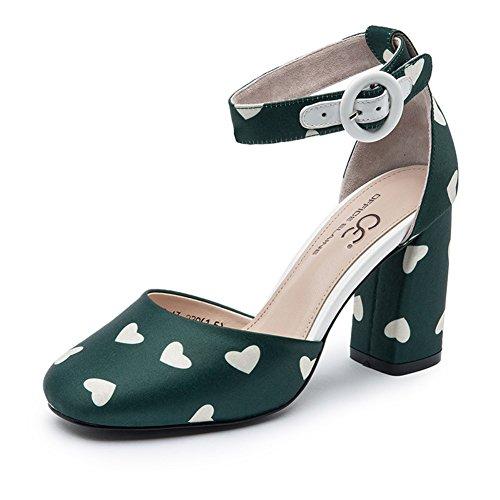 Sapatos Cabeça Retro Seda De Primavera E Verão / Um Botão Com Saltos Robustos Sapatos B