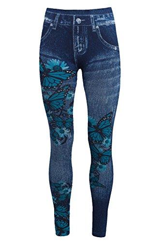 Bongual Thermo Leggings in Jeansoptik, Winter Fleece-Leggings,Warme Frottee-Leggings,Treggings mit Muster 38-40-42 (One Size, Schmetterling)