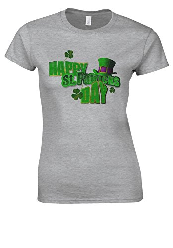 a3359f32c9 Happy St. Patricks Day Swag Tumblr Novelty Sports Grey Women T Shirt Top-XL