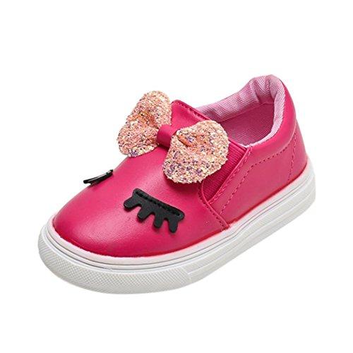 FNKDOR Mädchen Schuhe Kinder Baby Mode Bowknot Wimpern Slipper Freizeitschuhe(21,Rosa)
