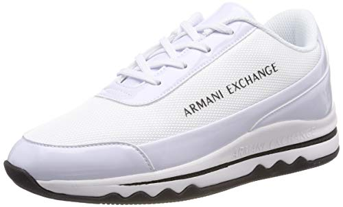 Armani Exchange Damen Nylon lace up Sneaker Weiß White A222, 38 EU