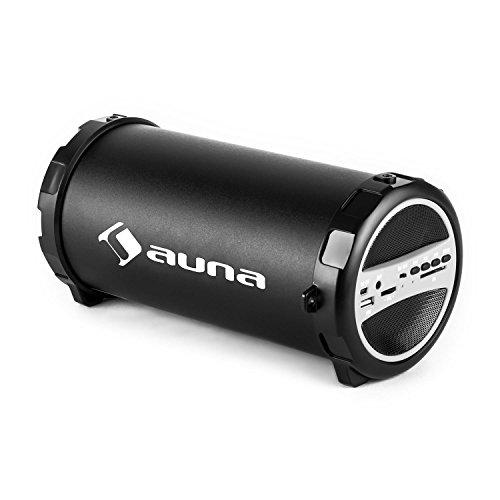 (auna Dr. Beat • Bluetooth-Box • 2.1-Lautsprecher • mobiler Lautsprecher • USB • SD • AUX • Akku • bis 5 Stunden • Tragegurt • schwarz-Silber)