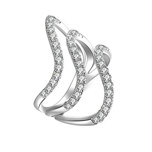 Bishilin Ringe Silber 925 Damen Hohl Stapelring Rund Brillant Weiß Zirkonia Verlobung Ringe Ehering Silber Gr.56 (17.8) (Werfen Pokemon)