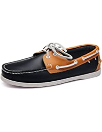 7106e725dd1c Qiusa Mens Genuine Leather Comfortable Shoes Lace up Soft Sole Non Slip  Boat Shoes (Color