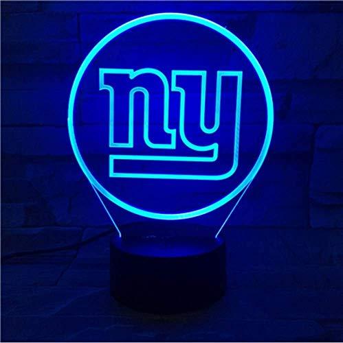2er Pack, New York Giants Nachtlampe Schlafzimmer USB Touch Kinder Kinder Geschenk Team Logo Led Nachtlicht American Football (York New Giants-mädchen)