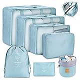 Koffer Organizer Set 8-teilig, kleidertaschen für Kleidung Kosmetik Schuhbeutel Kabel Aufbewahrungstasche, Reisen Organizer Tasche Blau