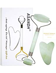 Jade Roller for Face and Gua Sha Massage, Body Relaxation; Real Natural Jade Stone, Anti-Aging Beauty Skincare Tool to Reduce Dark Circles and Puffy Eyes; Therapy for Wrinkles (Light Green)