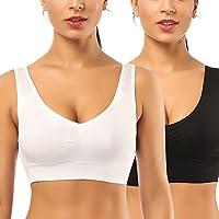 SIMIYA Super Comfort Bra, Womens Sports Bras Plus Size Sleep Bras for Girls in Yoga Bralette Leisure Stretch Crop Tops Vest 2 Pack