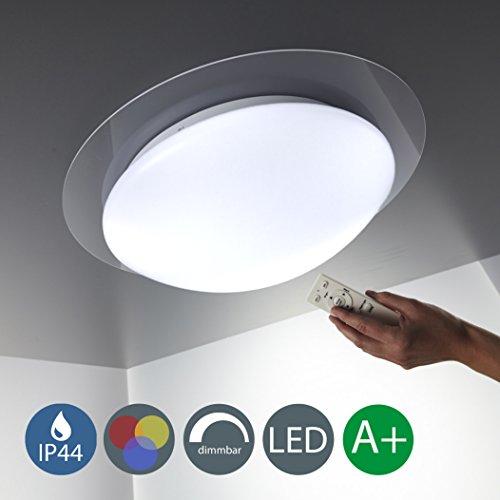 Volt 1 Licht (LED Deckenleuchte Dimmbar 16 Farben Inkl. LED-Platine 230V  IP44 LED Badlampe Inkl. IR-Fernbedienung 16 Farben 4 Farbprogramme Esszimmerleuchte Küchenleuchte LED Wohnzimmerlampe Spritzwasser Geschützt In Stufen Dimmbar Dekoring In Acryl LED Deckenlampe 230v Volt Warmweiss Metall Kunststoff Weiß 800lm 12 Watt IP 44)